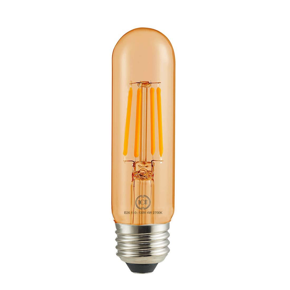 Led Filament Bulb Tubular Retro Vintage Edison T10 Style 40 Watt Incandescent Equivalent Warm Color Light 400 Lumens Dimmable E26 Medium Base Amber Color Glass, 4 Watt, Pack of 3