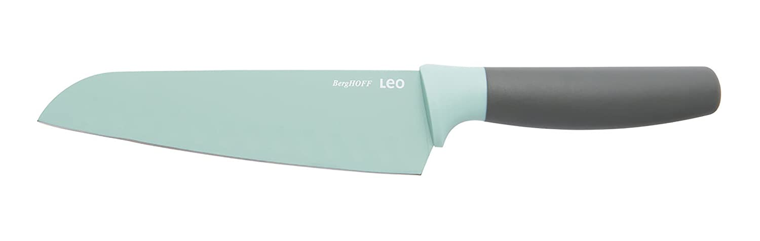BergHOFF Leo Ceramic Coated Non-Stick Santoku Knife with Soft Touch Handle, 17cm, Stainless Steel, Green, 6.5 x 31.5 x 2 cm 3950109