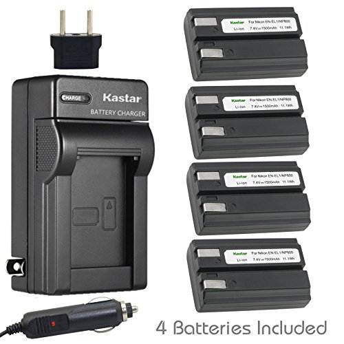 (Kastar EN-EL1 Battery (4-Pack) and Charger Kit for Nikon ENEL1, Minota NP-800 and Nikon Cooipix 4300 4500 4800 5400 5700 775 8700 880 885 995 CoolpixE880 and Konica Minota DG-5W Dimage A200 Cameras)