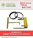 Dyson Vacuum Belt Tool + 2 Clutch Belts for Dyson Vacuum DC07, DC04 and DC14; Compare To Belt Part # 05361-01-02, 02514-01-01, Belt Tool Part # 10-10000-08; Designed & Engineered By Crucial Vacuum