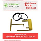 Belt Kit for Dyson DC04, DC07, and DC14 Vacuums w/Belt Change Tool; Compare to Dyson Part Nos. 05361-01-02, 02514-01-01, 10-10000-08; Designed & Engineered by Think Crucial