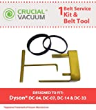 Think Crucial Replacement for Dyson DC04, DC07 & DC14 Belt Kit & Belt Change Tool, Compatible With Part # 05361-01-02, 02514-01-01, 10-10000-08