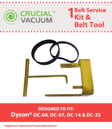 Dyson Vacuum Belt Tool + 2 Clutch Belts for Dyson Vacuum DC07, DC04 and DC14; Compare To Belt Part # 05361-01-02, 02514-01-01, Belt Tool Part # 10-10000-08; Designed & Engineered By Crucial Vacuum (Dyson Vacuum Dc14 Belt compare prices)