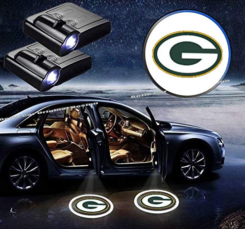 Green Bay Packer Logo (2Pcs For Green Bay Packers Logo Car Door Led Welcome Light Car Door Courtesy Light Laser Projector Shadow Light Lamp Fit for all brands of cars. (Green Bay)