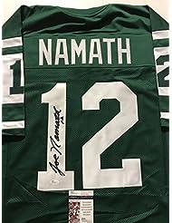 Autographed/Signed Joe Namath New York Jets Green Football Jersey JSA COA