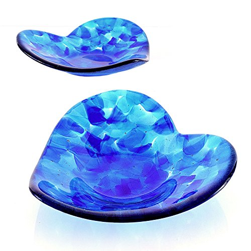 Blue Fused Glass Art Sculptured Heart Candy (Fused Glass Bowl)