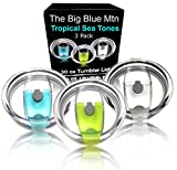 30 oz Spill Proof Tumbler Lids - Replacement Lid Covers for Yeti Rambler, Ozark Trail, Old Style Rtic Cup Tumblers by The Big Blue Mtn (Tropical Sea, 3)