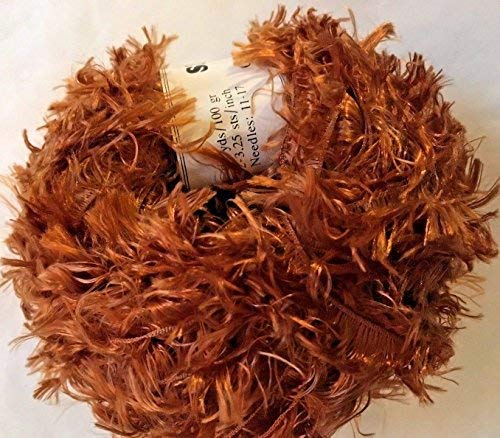 (Crystal Palace Splash #203 Copper Feather Boa Short Eyelash Yarn 100 Gram 85 Yards)
