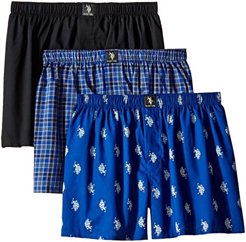 U.S. Polo Assn. Men's 3-Pack Assorted Woven Boxers, Black/Black Plaid/Iced Blue, Small (Black Woven Boxer)