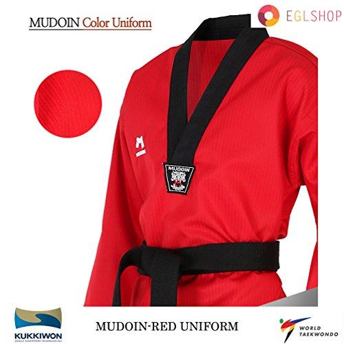 Mudoin RED Color Taekwondo Uniform WTF Poom TKD Martial Arts MMA Akido WKF – DiZiSports Store