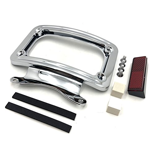 HTT Motorcycle Chrome Laydown Curved License Plate Bracket Tag Holder For '10-later FLHX, FLHXS, FLHXSE, FLTRX, FLTRXS and '10-'12 FLHXSE (Street Glide Special FLHXS/ Road Glide FLTRX) Curved Laydown License Plate Mount