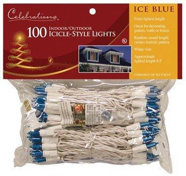Celebrations Mini Icicle Lights 100 Lights Blue Bulbs 10' Fuse Ace No. 9802315 White Cord