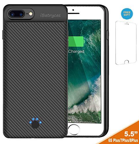 iPhone 6s Plus / 7 Plus / 8 Plus Battery Case, Slim Portable Rechargeable Charger Case - iPhone 6s Plus / 6 Plus 4000mAh by iBatrycas - Black-Unique