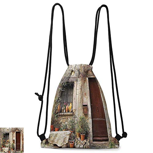 traveling backpack Shutters Decor Collection Flowerpot plants in Front Yard French Hilltop Village Saint paul De Vence Heritage W14