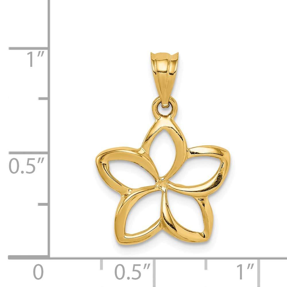 14k Yellow Gold Polished Medium Cut-out Plumeria Pendant
