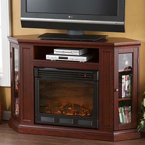 Electric Fireplace TV Stand Heater Corner Or Flat Free Standing Console Media Wooden Entertainment Center (Cherry)