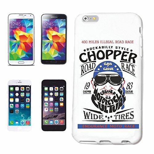"""cas de téléphone iPhone 6+ Plus """"CHOPPER ROAD RACE STYLE BIKER SHIRT MOTO CHOPPER MOTO GOTHIQUE SKULL MOTO CLUB BIKE ROUTE 66"""" Hard Case Cover Téléphone Covers Smart Cover pour Apple iPhone en blanc"""