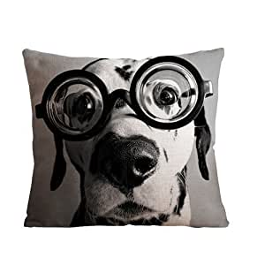 Huirong Pillowcase Design Cute dog wearing big glasses Pillow Protector, Best Pillow Cover(Size 18 X 18 inch(45 X 45 cm) One side printing) by huirong