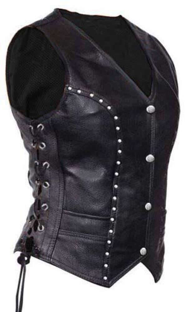 Sexy Women Ladies Real Black Leather Bikers Style Vest Waistcoat - (W10) (XX-Large, Black)