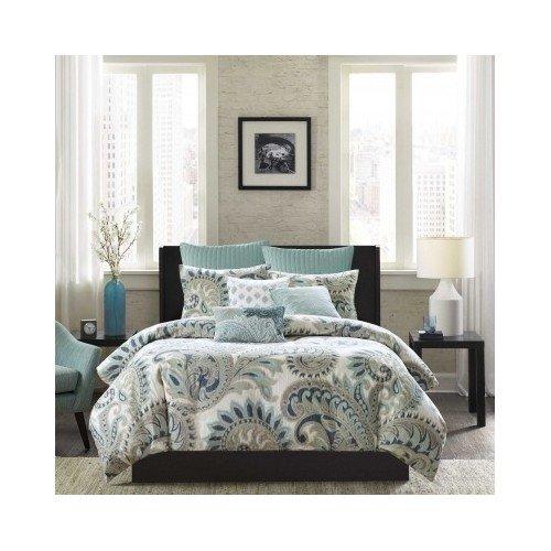 302e7568e8 hot sale 2017 Modern Cotton Grey Grey Blue Green Duvet Bedding Set with  Shams (king