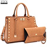 MMK Collection Fashion Women Vegan leather Satchel Handbags with Matching Coin Purse~Studded Deco and Dangling Padlock~Pretty and Cute Gift for Ladies~Clutches &handbag Set (MA-7579-TN)