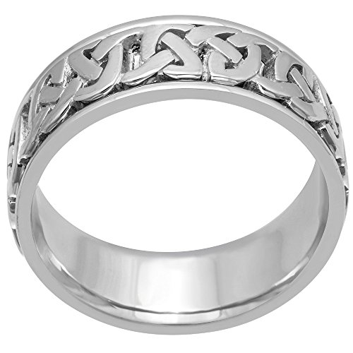 18K White Gold Celtic Love Knot Men's Comfort Fit Wedding Band (8.5mm) Size-9c1 by Wedding Rings Depot (Image #1)