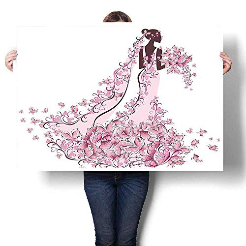 SCOCICI1588 Canvas Wall Art Large Romantic Oil Painting,Flowers Hearts Butterflies on Wedding Dress Bridal Gown Light Pink Maroon White Painting,On Canvas,24