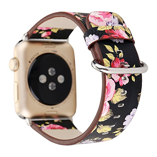Women Girls Floral Print Soft PU Leather Watch Strap Band Replacement for Apple Watch Series 3 Series 2, Series 1, Sport, Edition 38mm ()