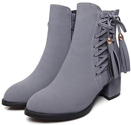 Sexy Heel Suede Lace Faux Shoes Side Zipper Gray Booties Mid Toe Pointed Ankle Summerwhisper Boots Women's Fringe Block up S5w4pRq