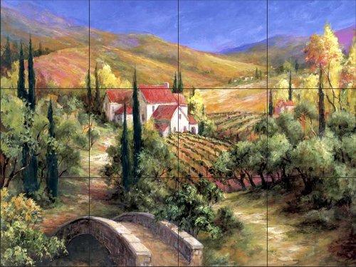 Ceramic Tile Mural - Tuscan Bridge - by Art Fronckowiak - Kitchen backsplash/Bathroom shower