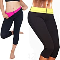 CROSS1946 Women's Slimming Thermo Capris Pants Sauna Hot Sweat Body Shaper Control Small