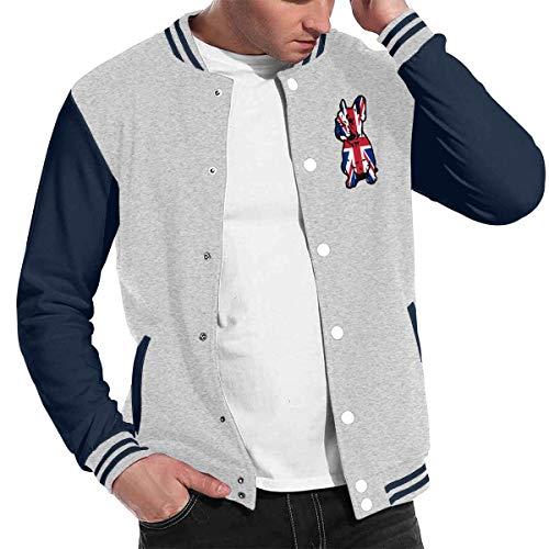 British Flag Bulldog Baseball Jacket Uniform, Men Women Varsity Premium Jacket Sweater ()