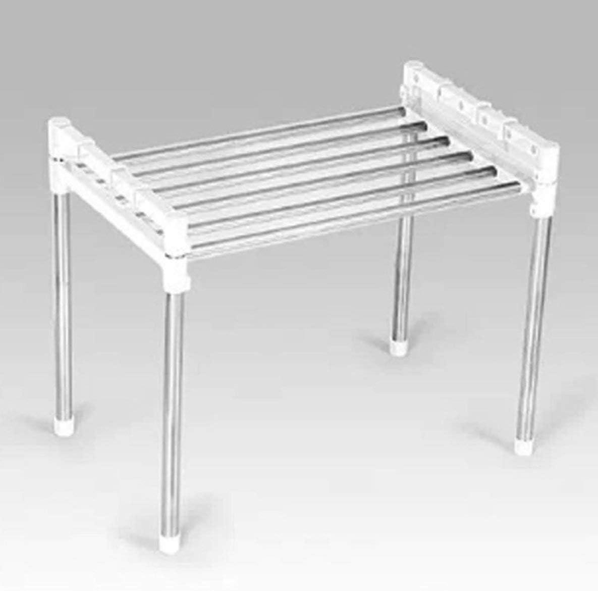 Rouku Support de Grille de Four /à Micro-Ondes Multifonctionnel Support de Cuisine r/églable en Acier Inoxydable de Type Debout Double