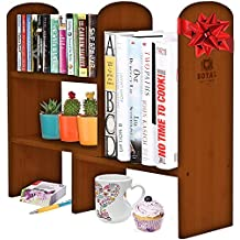 Expandable Natural Bamboo Desk Organizer Accessory - Adjustable Desktop Shelf Rack - Multipurpose Display for Office, Kitchen, Books, Flowers and Plants. BROWN