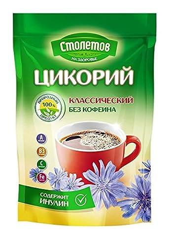 Instant chicory beverage, all-natural caffeine-free coffee substitute; Цикорий растворимый Столетов - Caffeine Free Coffee