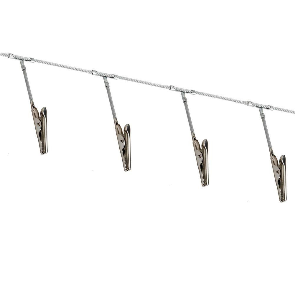 YES Time Multi-Purpose Steel Wall Hanging Display Cable Wire Rod with 12 Clips for Hanging Photos Notes and Artworks (Alligator Clip) by YES Time