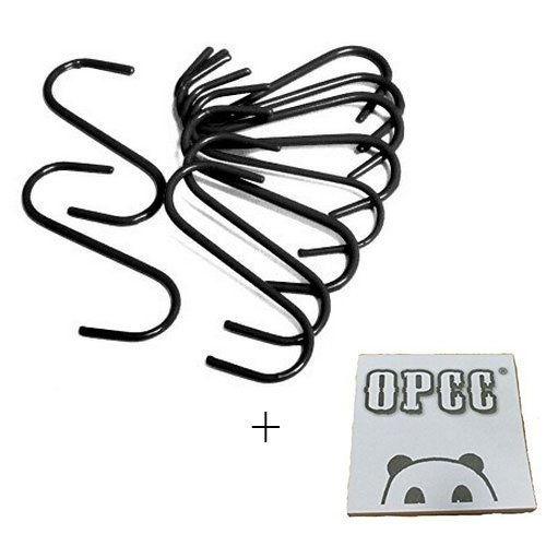 (OPCC 10 PCS Black Color Heavy-duty Steel S-hooks for Plants, Towels with PVC Coating)