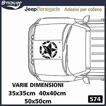 Fuoristrada 4X4 Fiancate Cofano Jeep Renegade Suzuki Offroad Adesivi Stickers Fiancate AUT Decal Kit Adesivi-Stella Militare Vintage Cofano Varie Misure Nero, 35x35cm