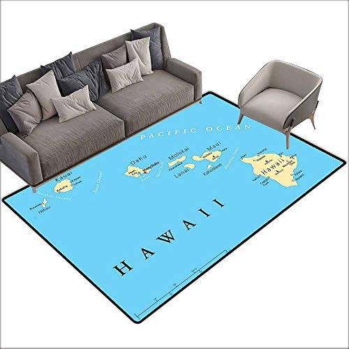 Anti-Slip Cooking Kitchen Carpets Hawaiian Decorations,Map of Hawaii Islands with Capital Honolulu,Borders,Important Cities and Volcanoes 60