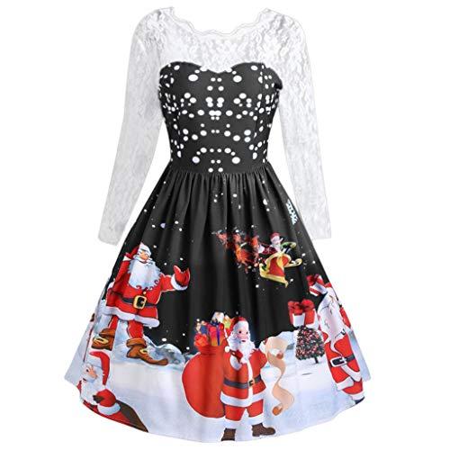 Christmas Retro Dress Women's Fashion Lace Long Sleeve Print Party Swing Dress ANJUNIE(Black,XL)