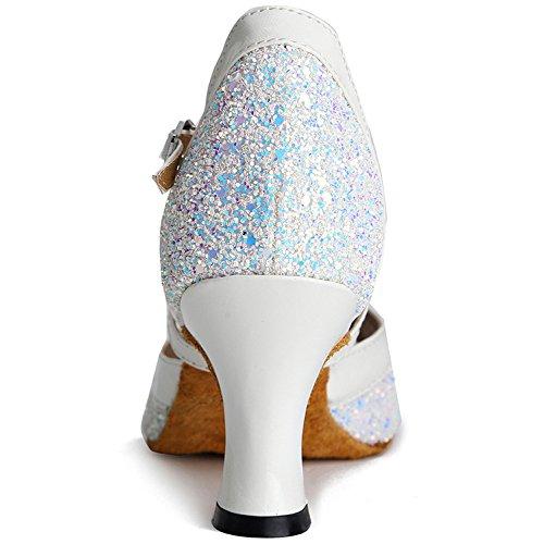 Honeystore Femmes Cheville Sangle Ouverte Orteil Glitter Sequin Talon Mi Chaussures De Danse Blanc