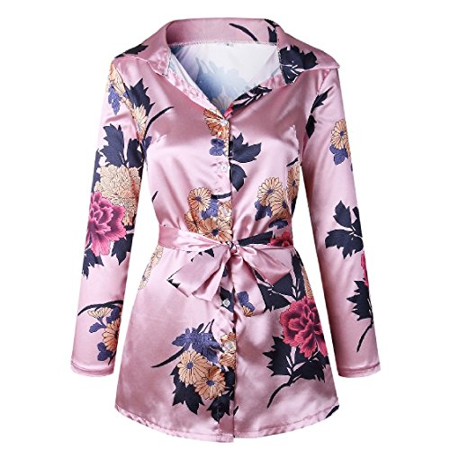 Top Straps Buttoned Women Pink Coolred Cardi Dress Floral Tunic Printed XxF7nd0dq