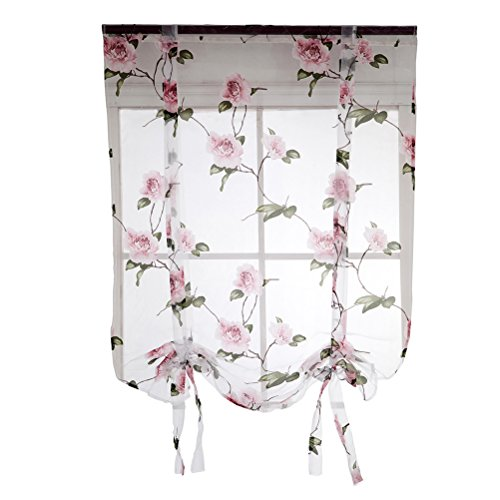 (Vosarea Floral Roman Curtain Semi Sheer Window Shade Sling Tie Blinds for Living Room Balcony Bedroom 0.8 x 1m (Pink))