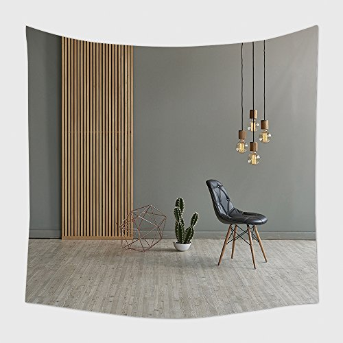 Home Decor Tapestry Wall Hanging Gray Wall In Front Of Modern Wooden Separator Modern Pendant Lamp Textured Wood Laminate Flooring 401695459 for Bedroom Living Room Dorm
