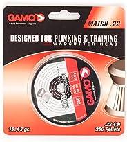 Gamo 6320025B54 Match Pellets (Flat Nose) .22 Cal. Qty of 250 - Blister Pk Silver