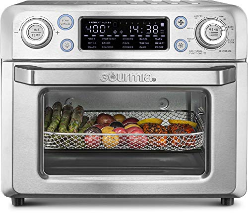 Gourmia GTF7650 24-in-1 Multi-function, Digital Stainless Steel Air Fryer Oven – 24 Cooking Presets with Convection Mode – Fry Basket, Oven Rack, Baking Pan & Crumb Tray, Includes Recipe Book