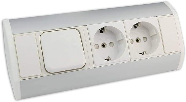 Muebles - caja de enchufe blanca con 2x Schuko + interruptor de ...