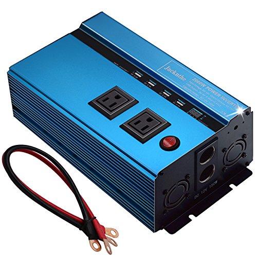 Jacknthe 2000W Power Inverter 12V to 110V DC to AC Car Converter for Car Battery Outlet Inverter USB Ports