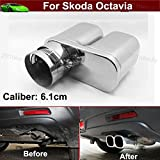 Car Double Outlets Chrome Stainless Steel Exhaust Rear Tail Pipe Tip Tailpipe Muffler Pretector Silver Color Custom Fit For Skoda Octavia 2008 2009 2010 2011 2012 2013 2014 2015 2016 2017 2018 2019
