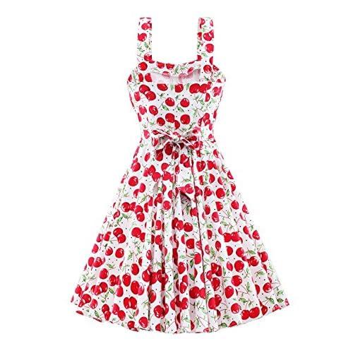 d40e8250d49 VOGTORY Women Retro Plus Size Summer Cherry Floral Print Slip Dress ...